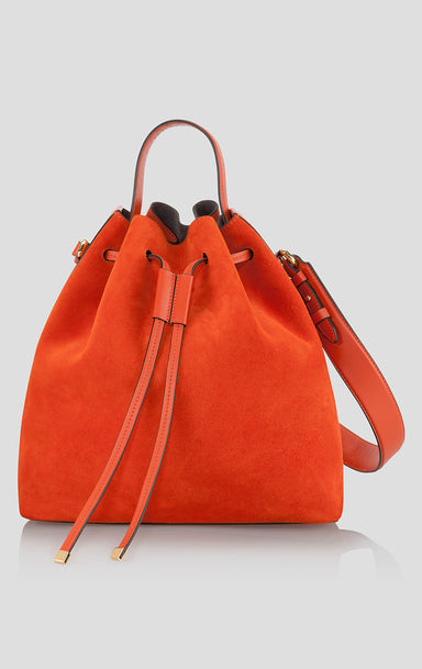 Suede and Leather Bucket Bag - ESCADA