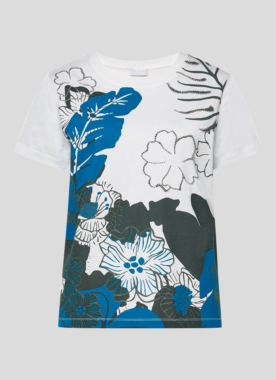 ESCADA Floral Print Beaded T-shirt