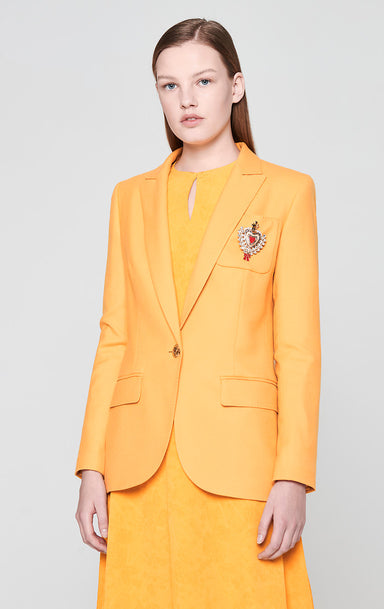 Virgin Wool Blazer with Crystal Brooch - ESCADA