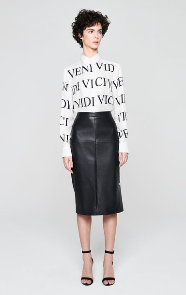 Leather Skirt with Side Buttons - ESCADA
