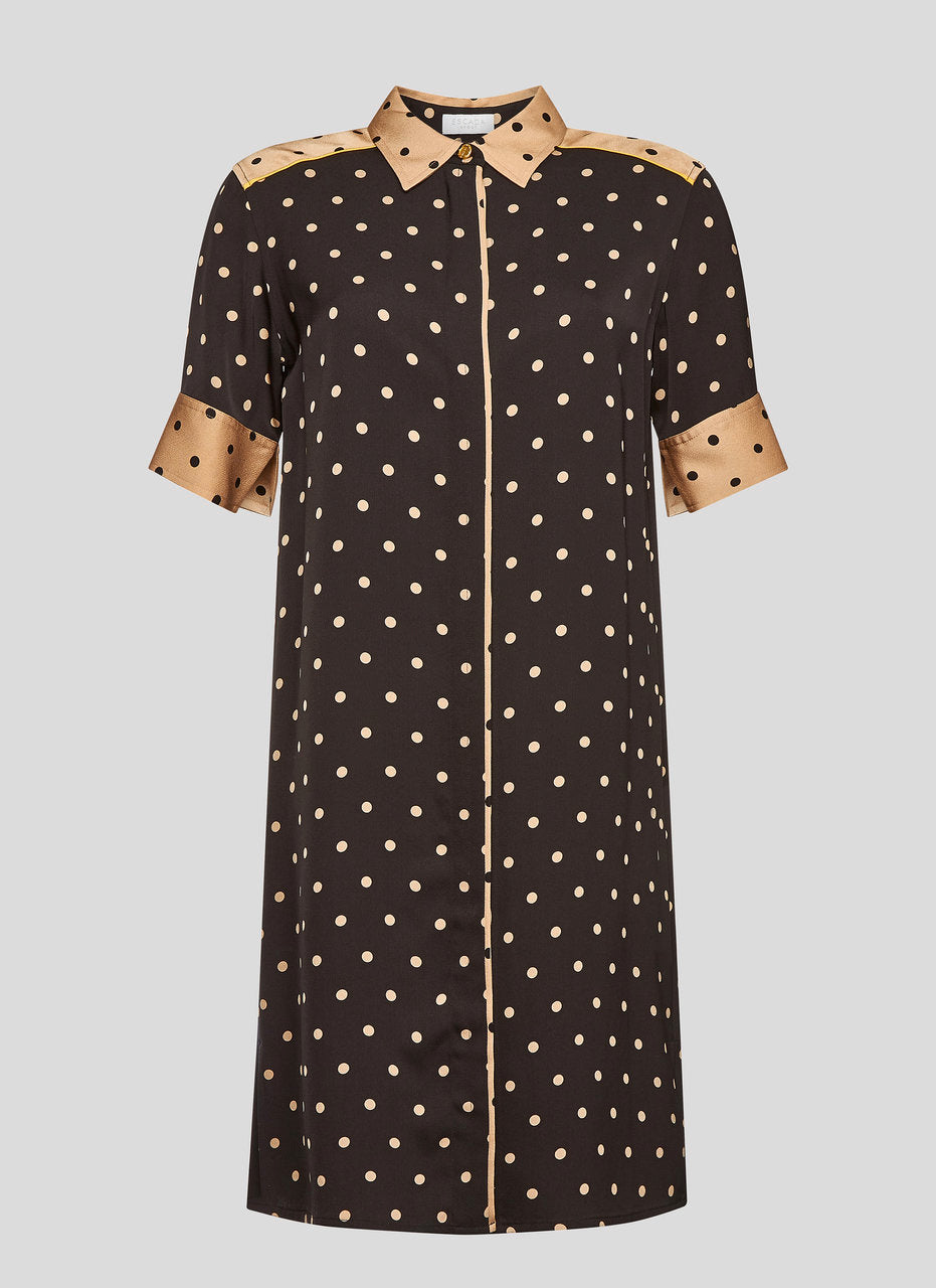 Crepe Polka Dot Shirt Dress - ESCADA