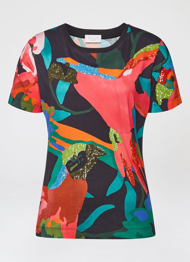 ESCADA Multicolor Bird Printed T-Shirt