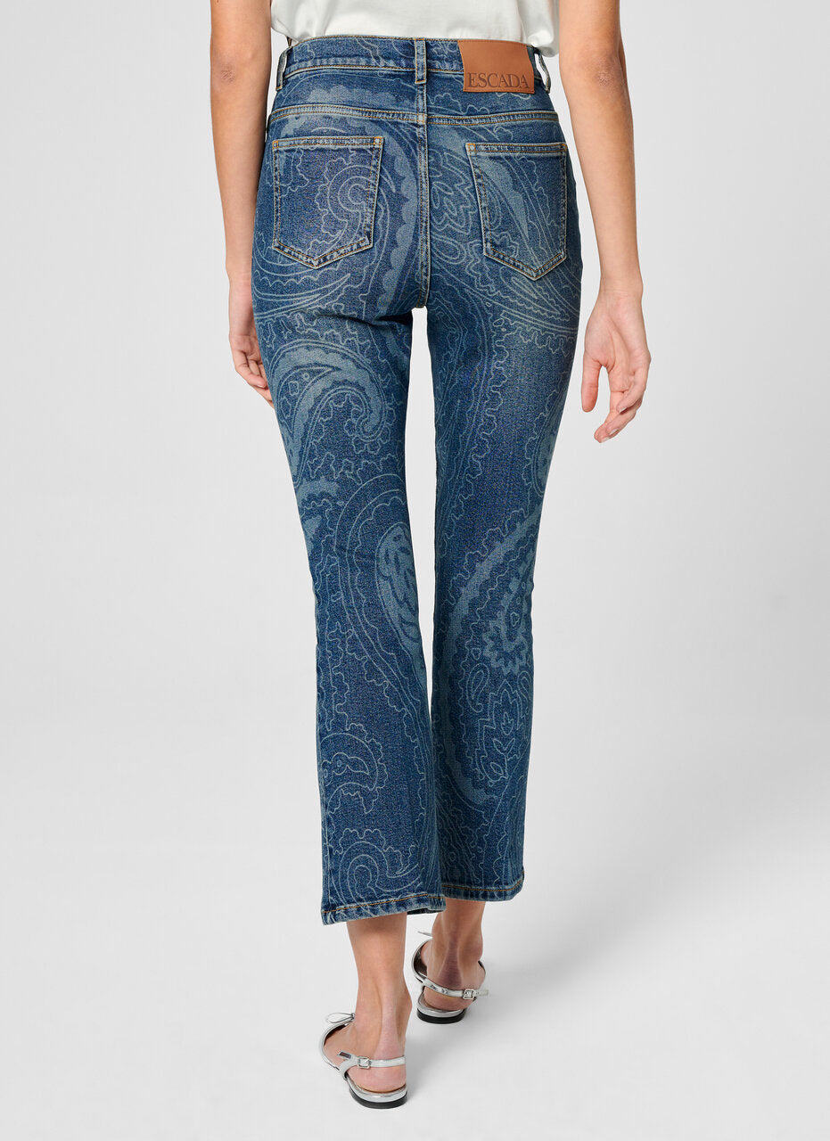 Paisley Print Cropped Jeans - ESCADA