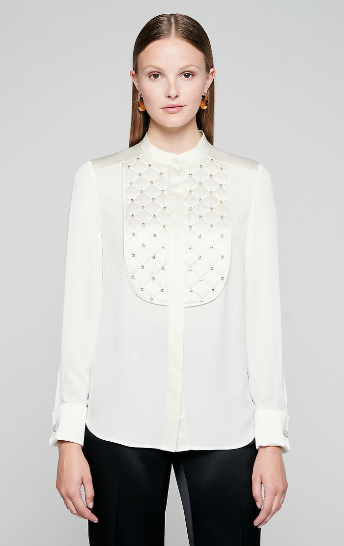 Silk Crystal-Embroidered Blouse - ESCADA