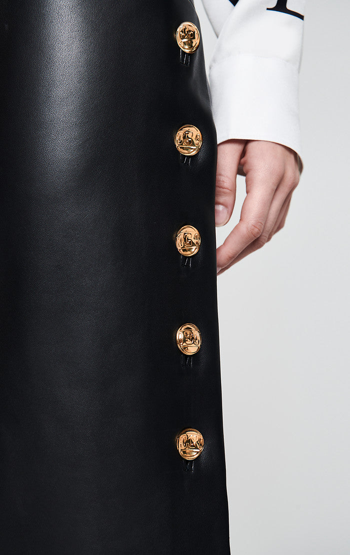 ESCADA Leather Skirt with Side Buttons