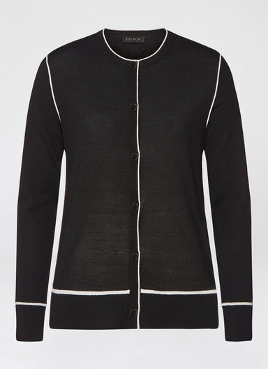 ESCADA Wool cardigan with contrast pipings