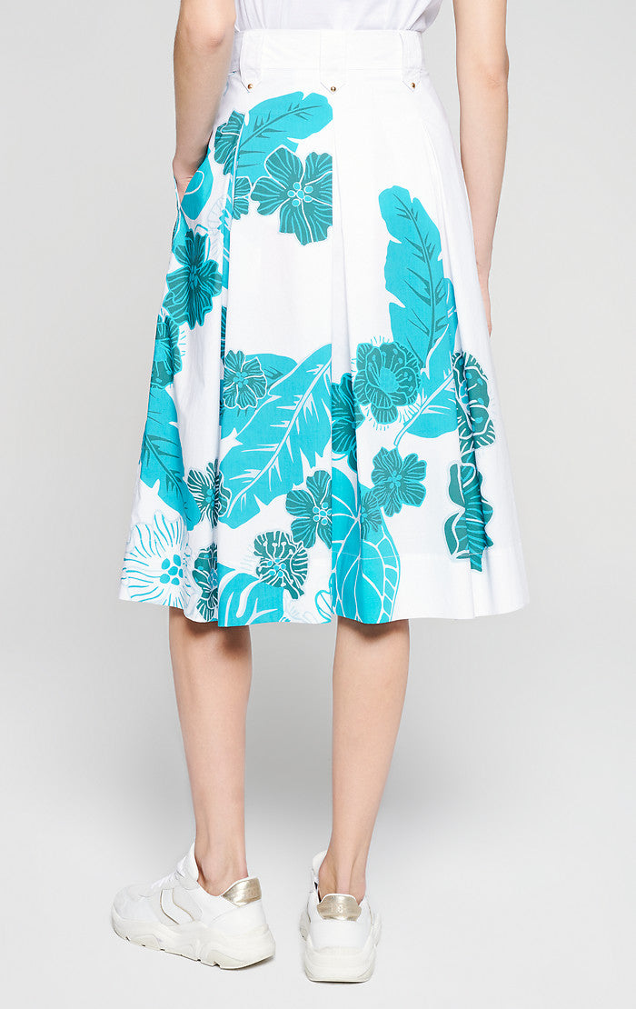 Cotton Poplin Floral Midi Skirt - ESCADA