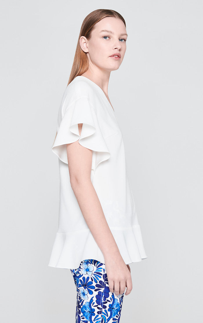 ESCADA Satin Crepe Ruffle Top