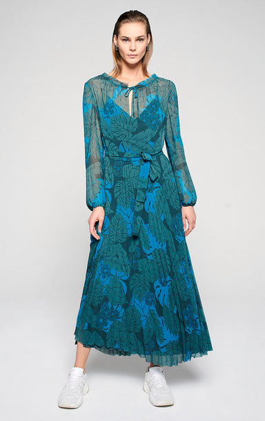 ESCADA Printed Plissé Maxi Dress