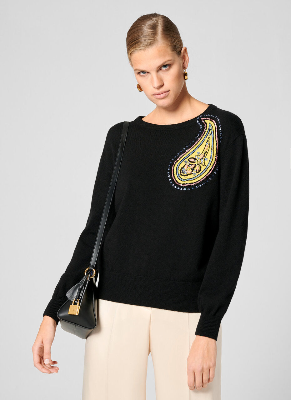 Cashmere Cotton Embroidered Sweater