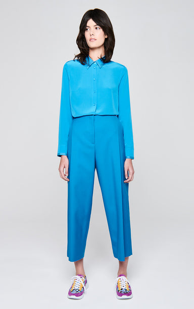 ESCADA Wool Blend Pleated Wide Leg Pants