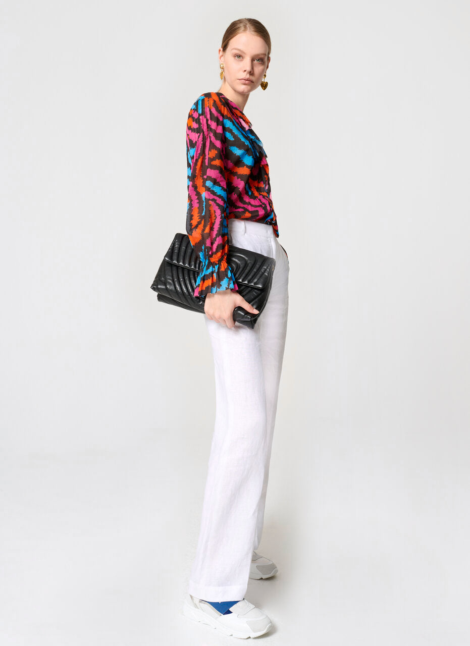 Printed Cotton Ruffle Blouse - ESCADA