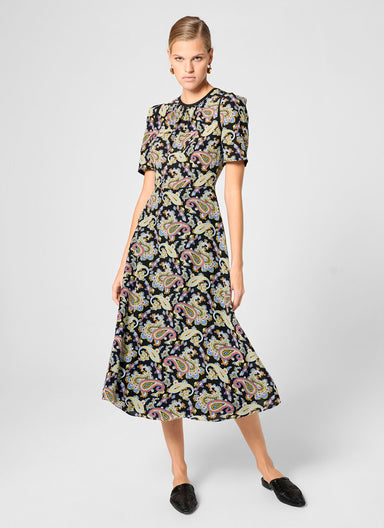Silk Paisley Print Midi Dress - ESCADA