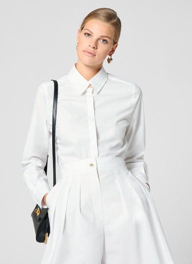 Cotton Poplin Jewel Button Shirt - ESCADA