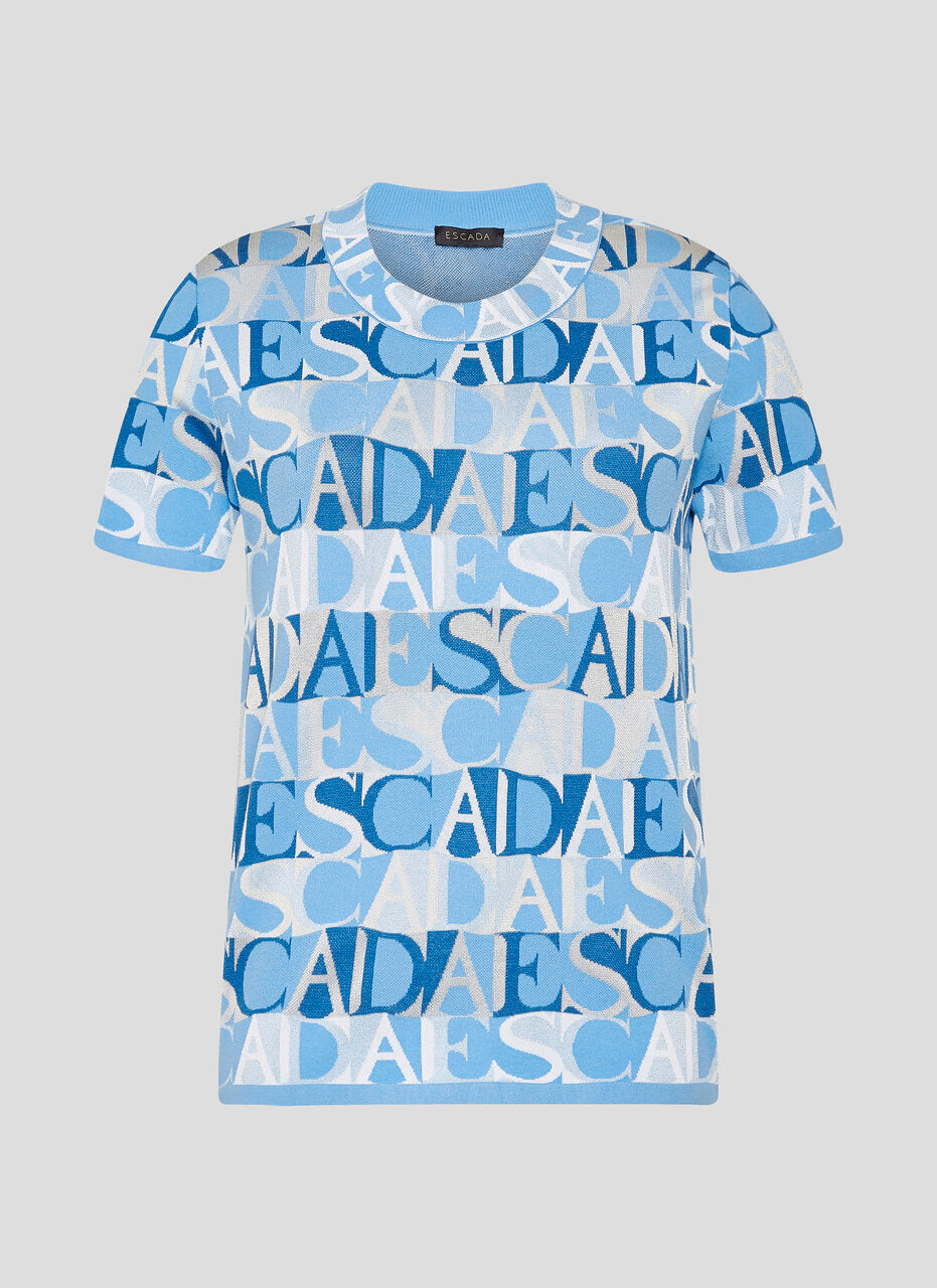 Logo Jacquard Short-Sleeve Sweater - ESCADA