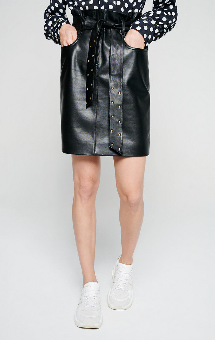 ESCADA Leather Belted Pencil Skirt