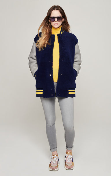 ESCADA Shearling Leather Varsity Jacket