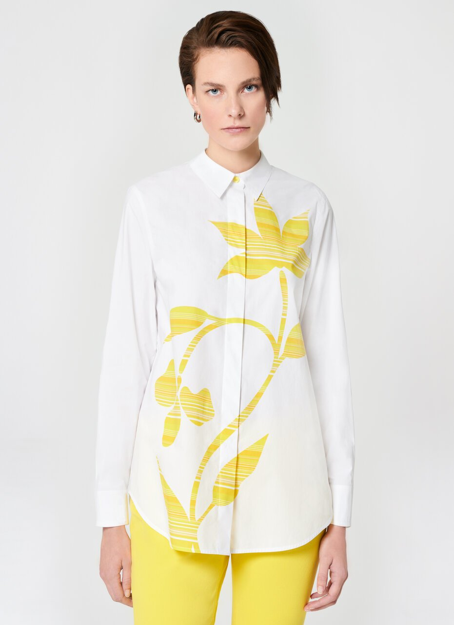 Floral Printed Cotton Poplin Blouse - ESCADA