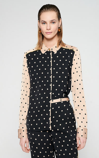 ESCADA Two-Tone Polka Dot Blouse