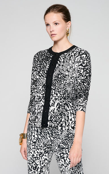 ESCADA Silk Trim Printed Cardigan