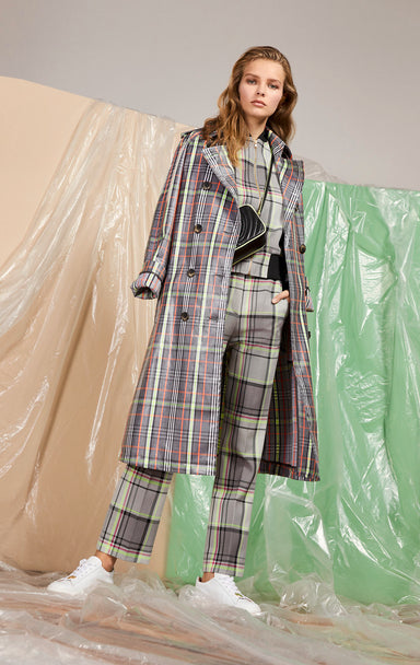 ESCADA Coated Check Trench Coat