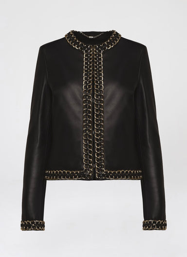Luxurious gold chain leather jacket - ESCADA