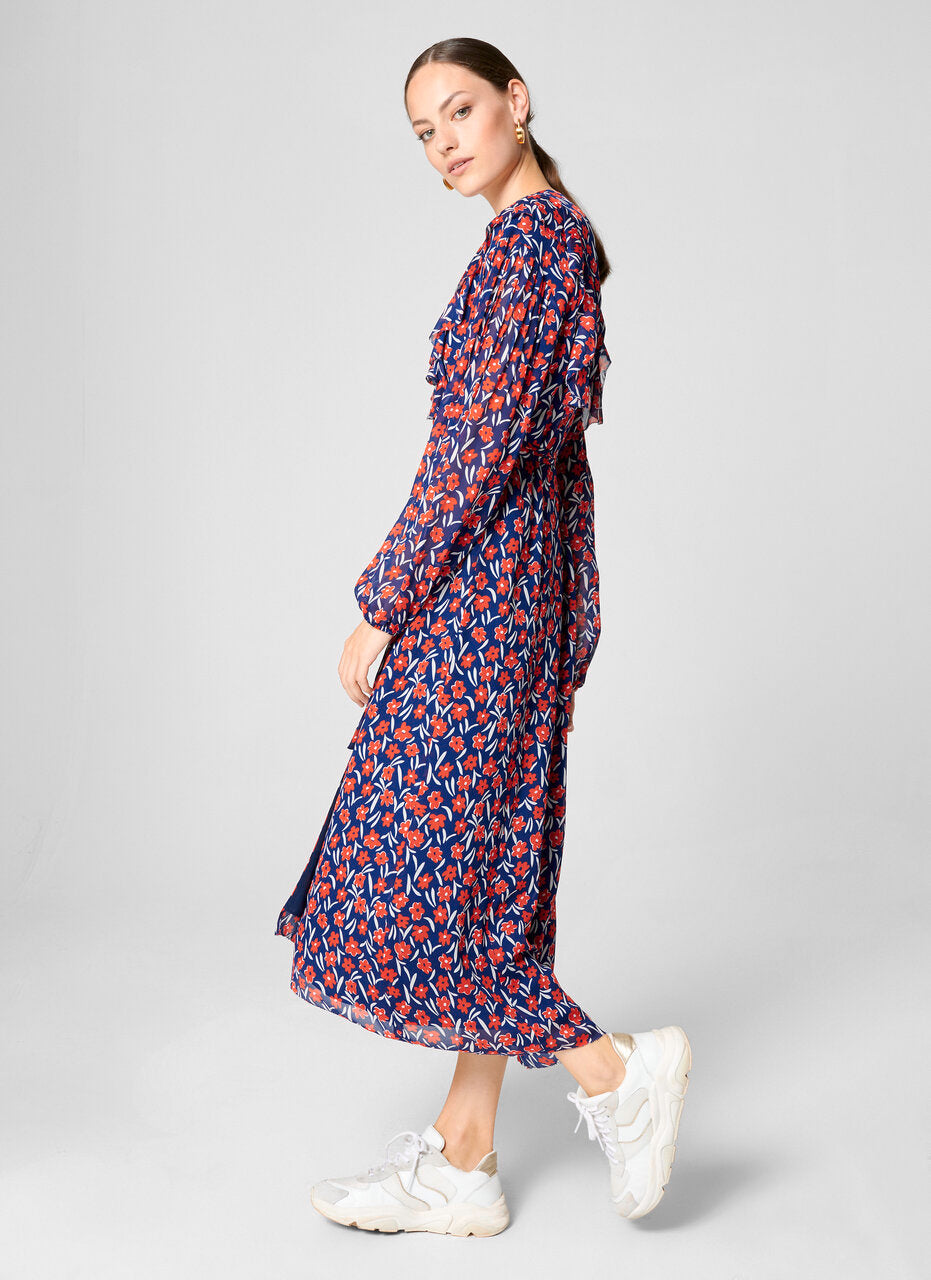 Floral Ruffle Wrap Dress - ESCADA