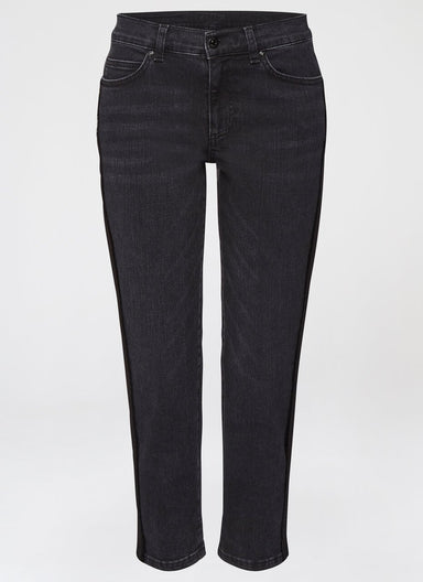ESCADA Fringed Grosgrain Tape Capri Denim