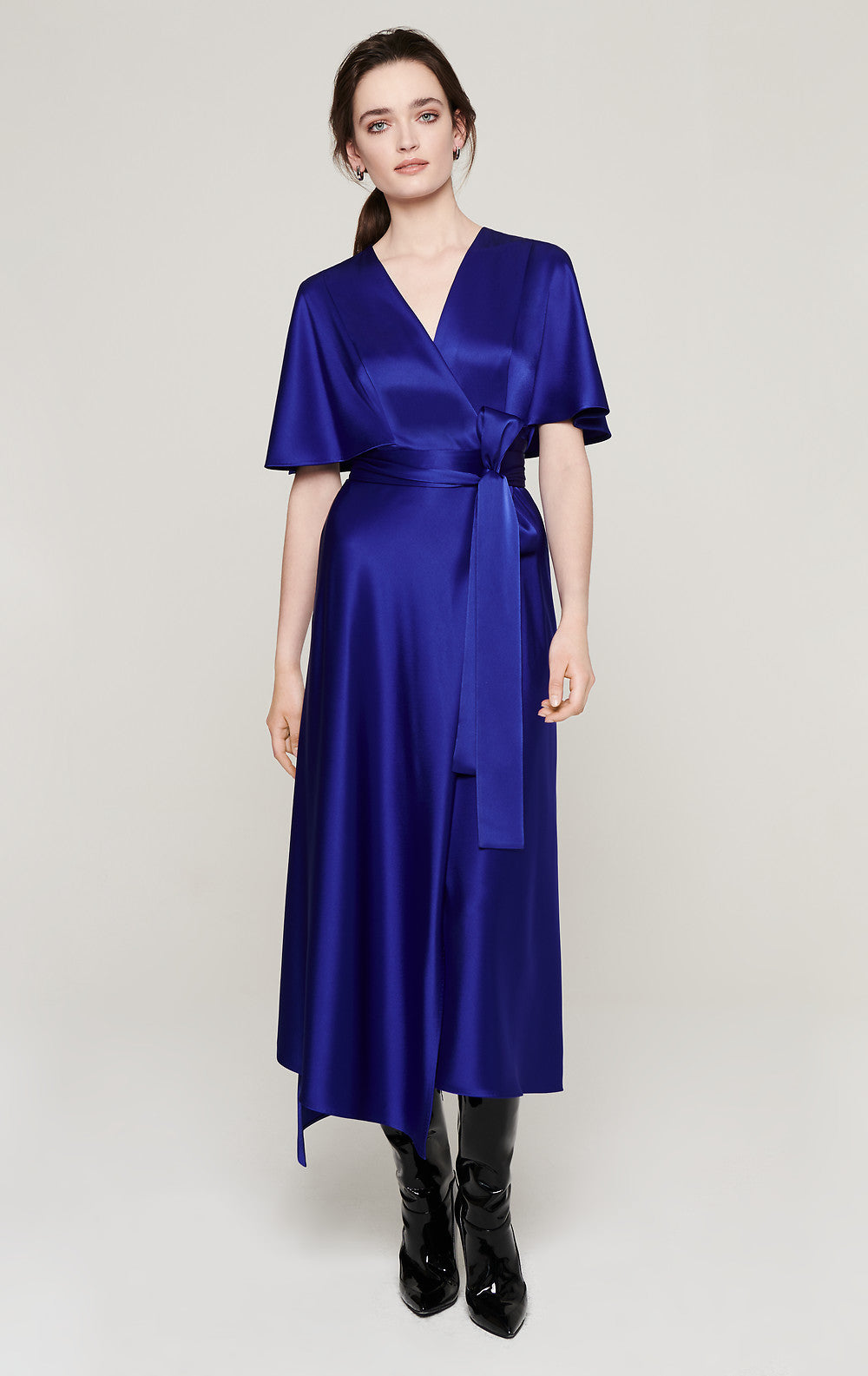 ESCADA Satin Cape-Sleeve Wrap Dress