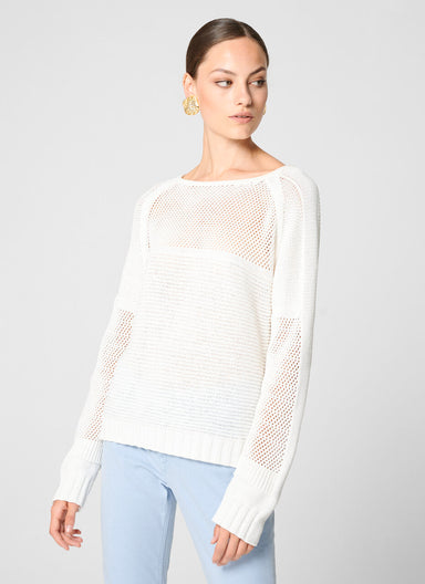 Cotton Crochet Knit Sweater - ESCADA