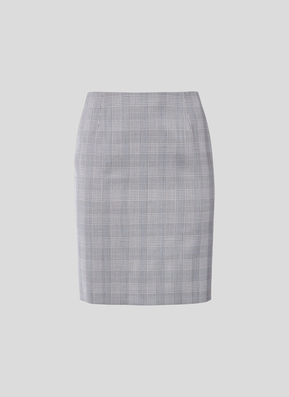 Wool Check Pencil Skirt - ESCADA