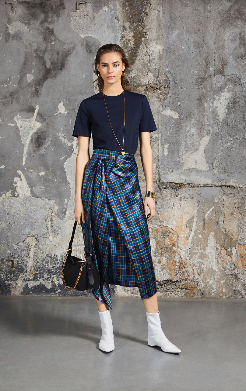 Silk Satin Check Skirt - ESCADA