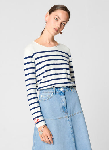 Cotton Breton Stripe Sweater - ESCADA