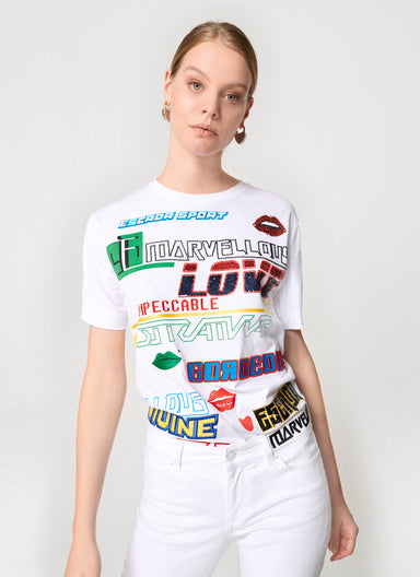 Sequin Multi Logo T-shirt - ESCADA