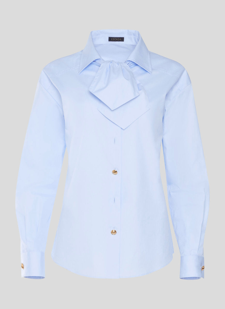 Cotton Bow-Neck Shirt