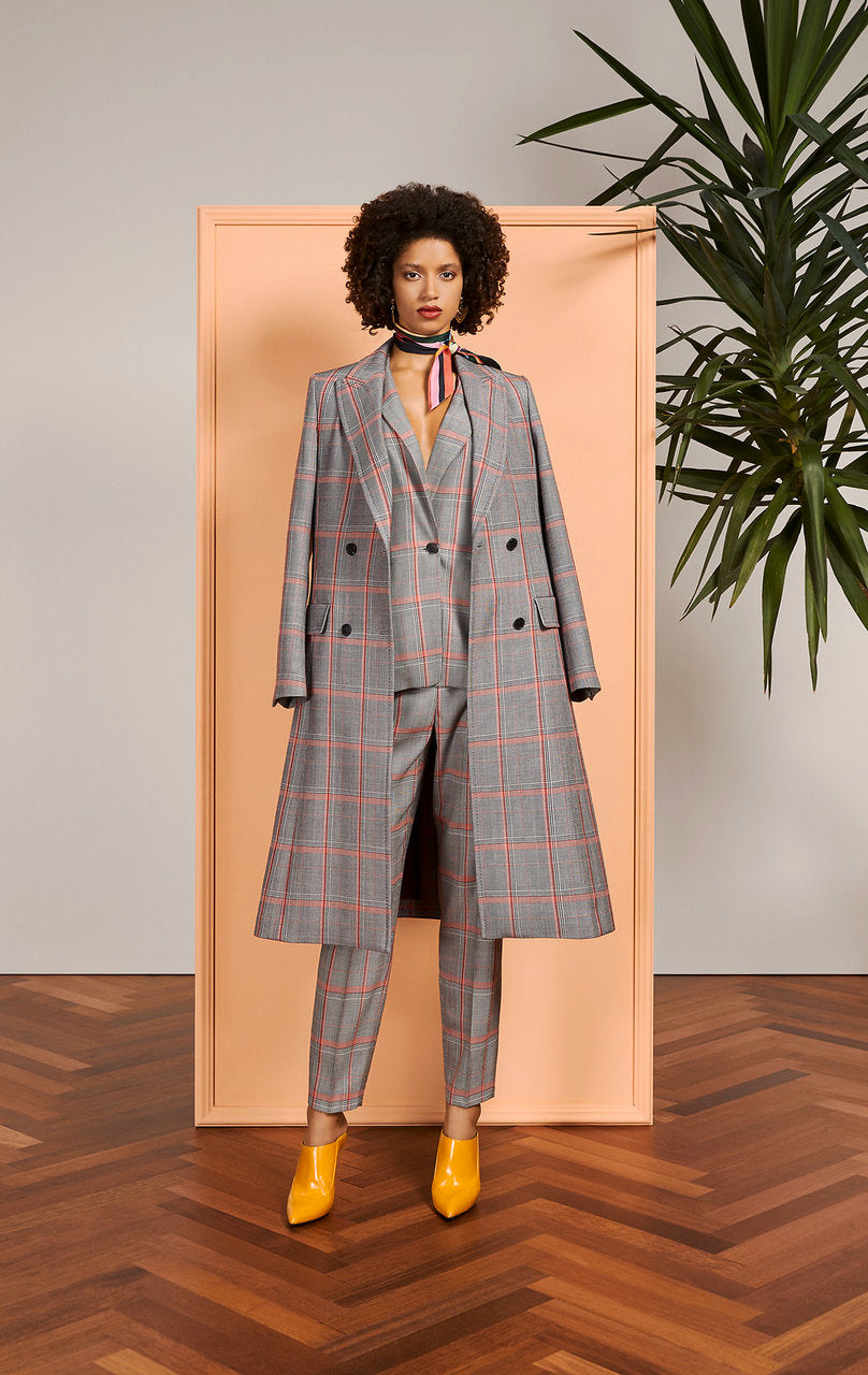 Virgin Wool Check Long Coat - ESCADA