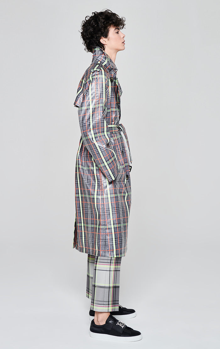 Coated Check Trench Coat - ESCADA