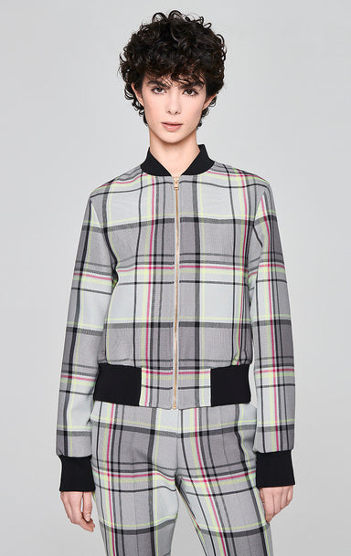 Cotton Blend Check Bomber Jacket - ESCADA
