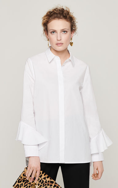 Cotton Poplin Ruffle Sleeve Shirt - ESCADA