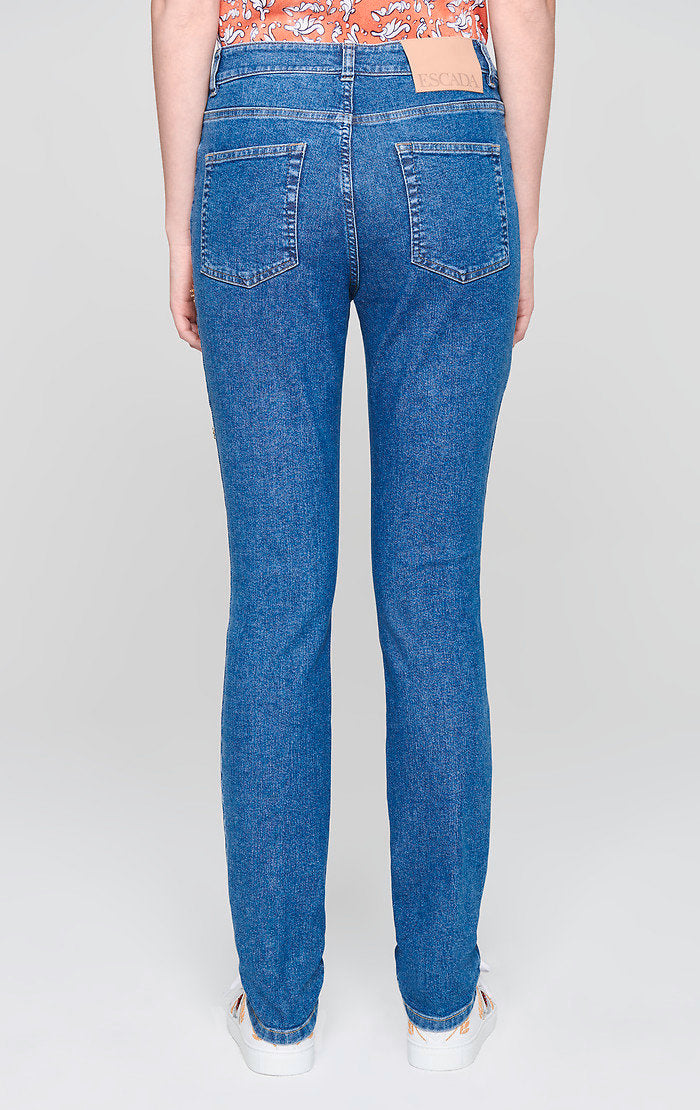 ESCADA Crystal-Embroidered Jeans