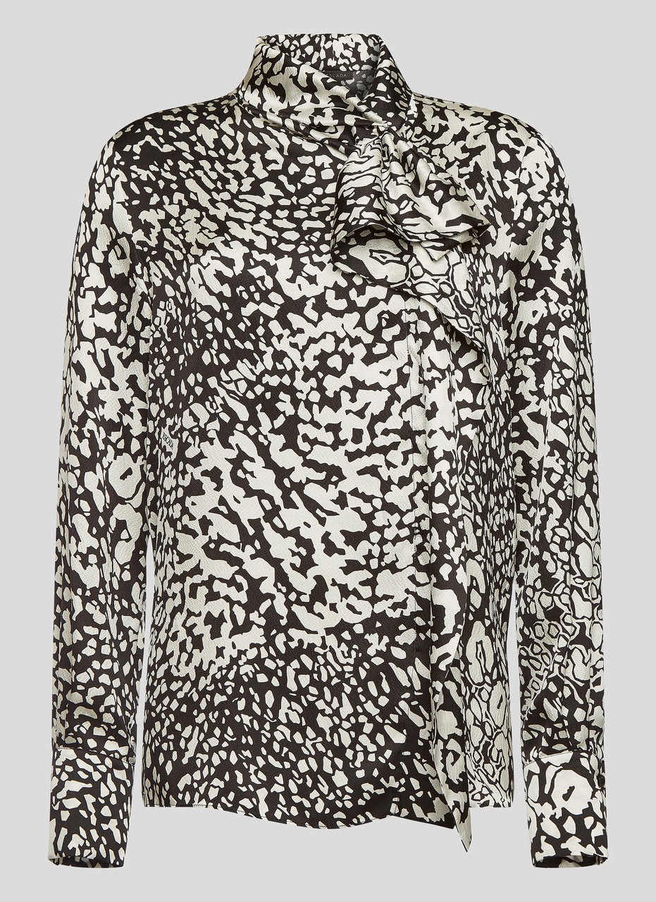 ESCADA Silk Satin Leopard Print Blouse