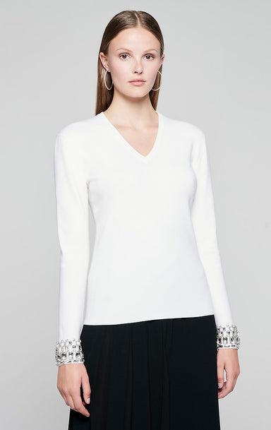 Jewel Detail V-Neck Sweater - ESCADA
