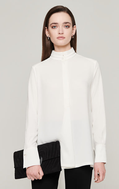 ESCADA Crepe Satin Stand Collar Shirt