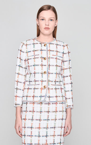 Cotton Check Tweed Jacket - ESCADA