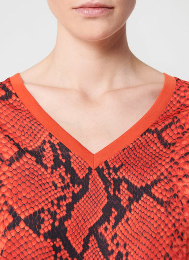 V-Neck Python Printed T-Shirt - ESCADA