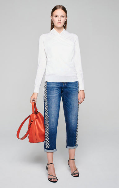 ESCADA Wool Silk Wrap-Over Sweater