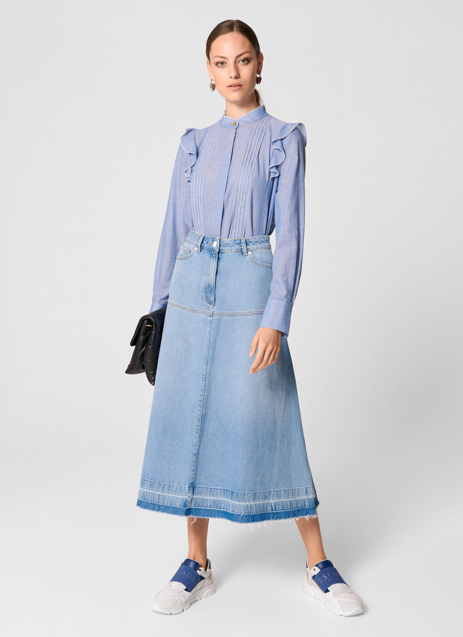Cotton Chambray Ruffle Blouse - ESCADA