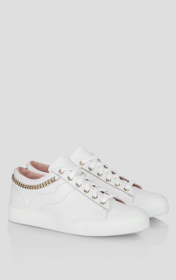 Leather Chain-Trimmed Sneakers - ESCADA