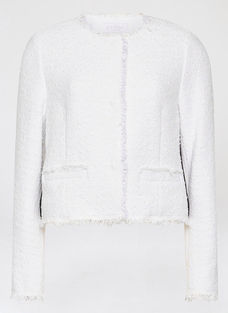 Cotton Tweed Cropped Jacket - ESCADA