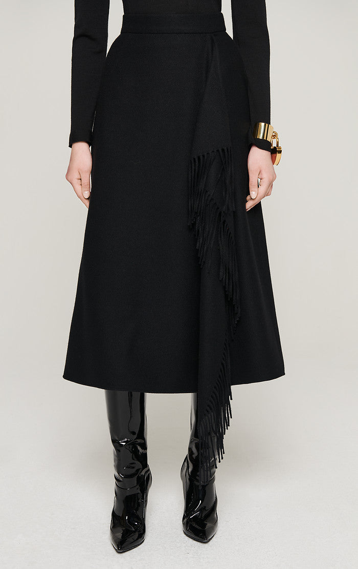 Wool Fringed Midi Skirt - ESCADA